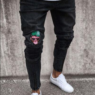 black trousers homme embroidery jeans