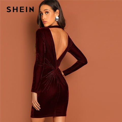 Velvet Bodycon Dress Elegant Sexy Dress