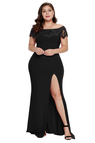 Black/Red Off Shoulder Plus Size Prom Dress Party dress