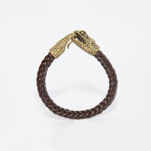 CHAMELEON LOCK ON SQUARE LEATHER BRAID BRACELET
