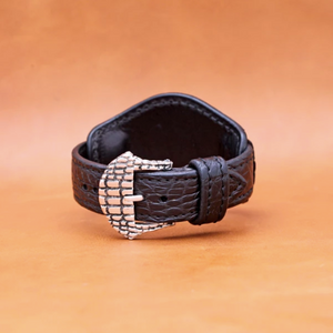 CROCODILE WATCH STRAP IN BLACK 22MM LUG
