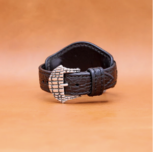 CROCODILE WATCHSTRAP IN DARK BROWN 22MM LUG