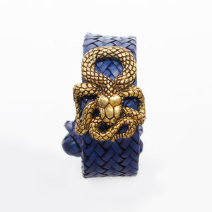 Woven Bracelet with Yellow Brass Snake