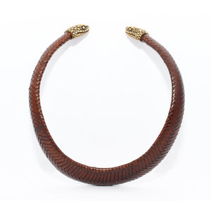 WOVEN CHOKER WITH SNAKE CAPS