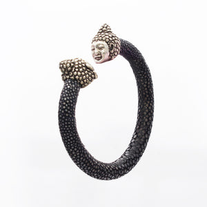 EXOTIC CUFF WITH SILVER BUDDHA HEAD