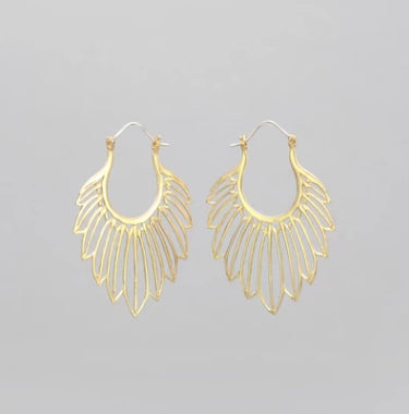 YELLOW BRASS TRACED FEATHER EARRINGS