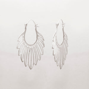 SILVER PLATED TRACED FEATHER EARRINGS
