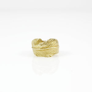 YELLOW BRASS FEATHER RING