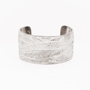 WIDE SILVER PLATED FEATHER CUFF