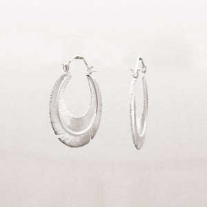 SILVER PLATED FLAT FEATHER HOOP EARRING