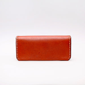 RECTANGULAR SUNGLASSES CASE IN LIGHT BROWN LEATHER WITH TOP STITCH DETAILS