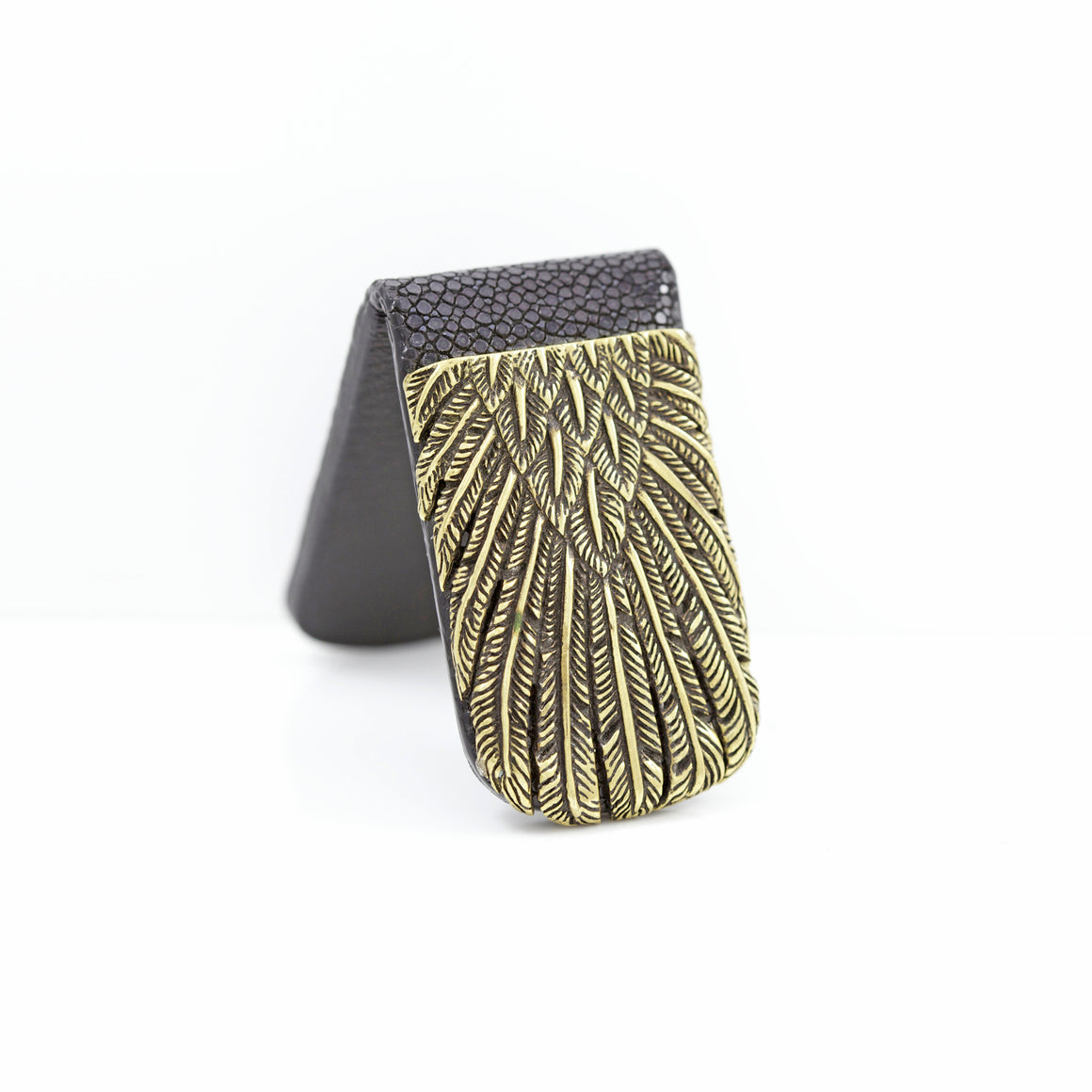 YELLOW BRASS FEATHER WITH BROWN EXOTIC MONEY CLIP