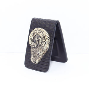 Lizard skin money clip with silver Ram head
