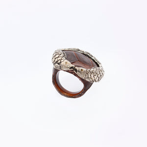 Ostrich skin ring with Koi fish crown