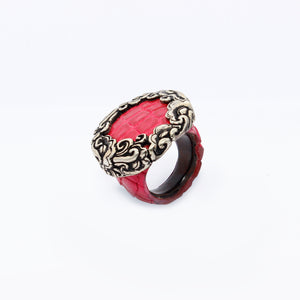 Ostrich skin ring with Clouds crown
