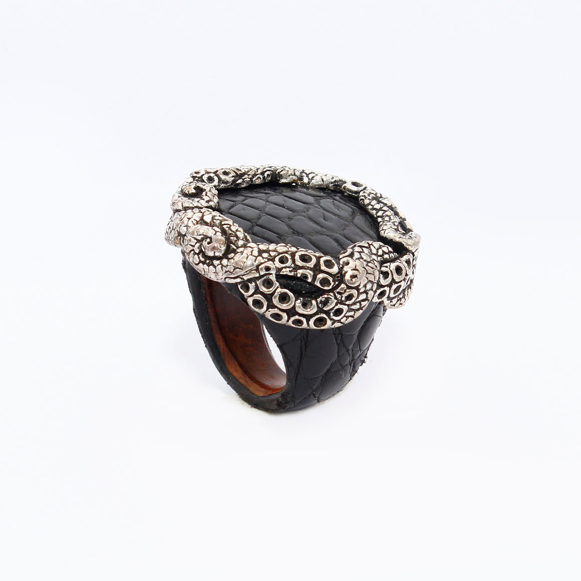 Ostrich skin ring with Tentacles crown