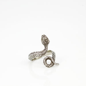SNAKE COIL RING IN WHITE BRASS