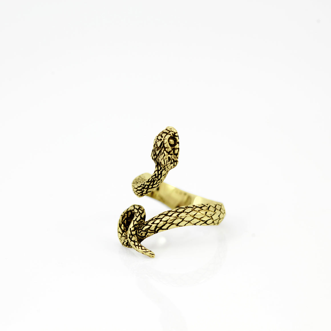 SNAKE COIL RING IN YELLOW BRASS