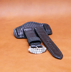 LIZARD WATCH STRAP IN BLACK 22MM LUG