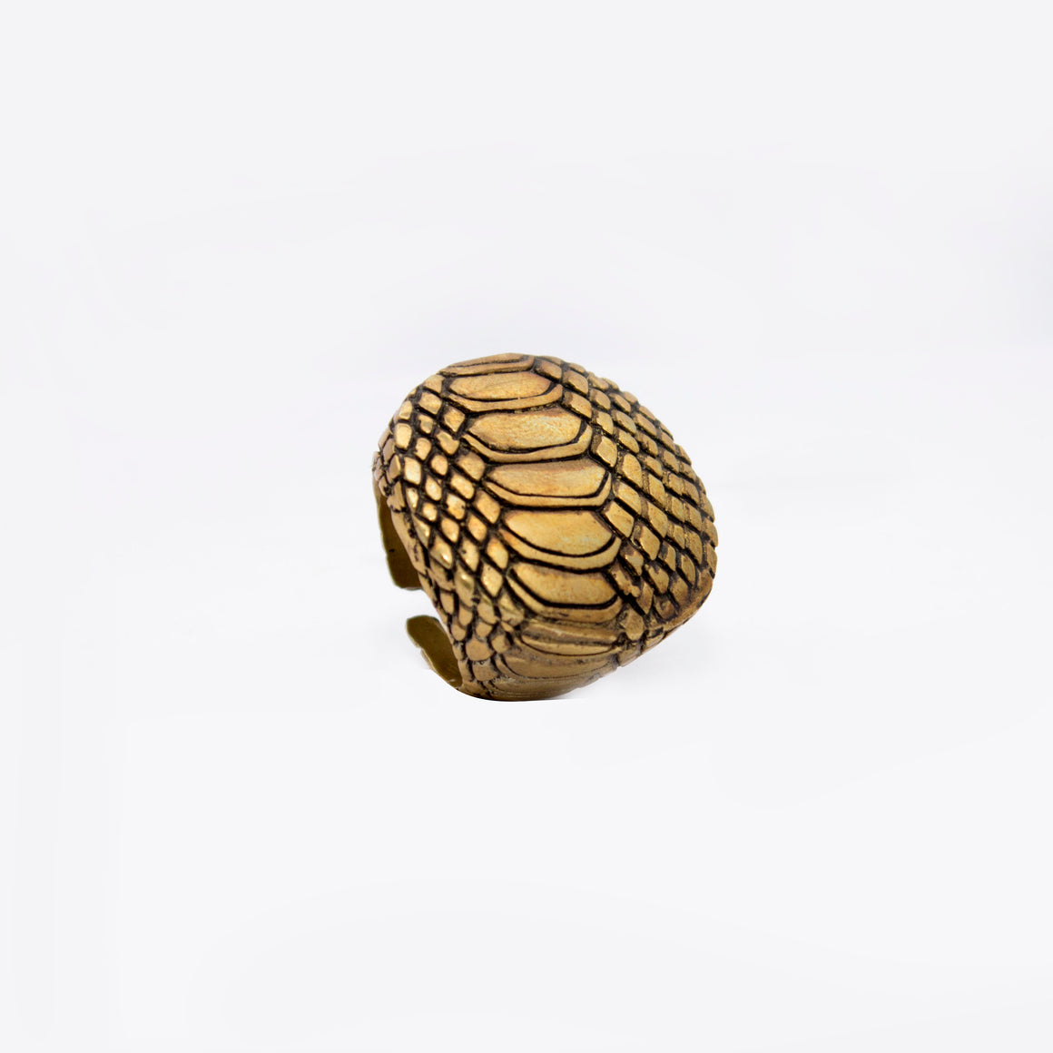 SNAKE SKIN MOTIF RING IN YELLOW BRASS