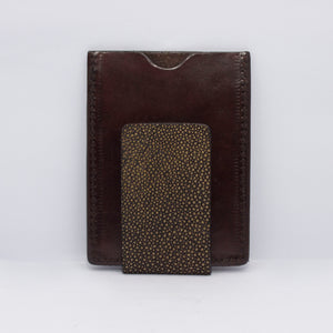 EXOTIC MONEY CLIP WALLET CARD IN DARK BROWN