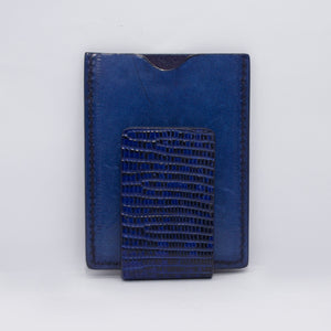 LIZARD MONEY CLIP WALLET CARD IN BLUE