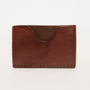 SINGLE POCKET FRONT AND BACK WALLET IN DARK BROWN