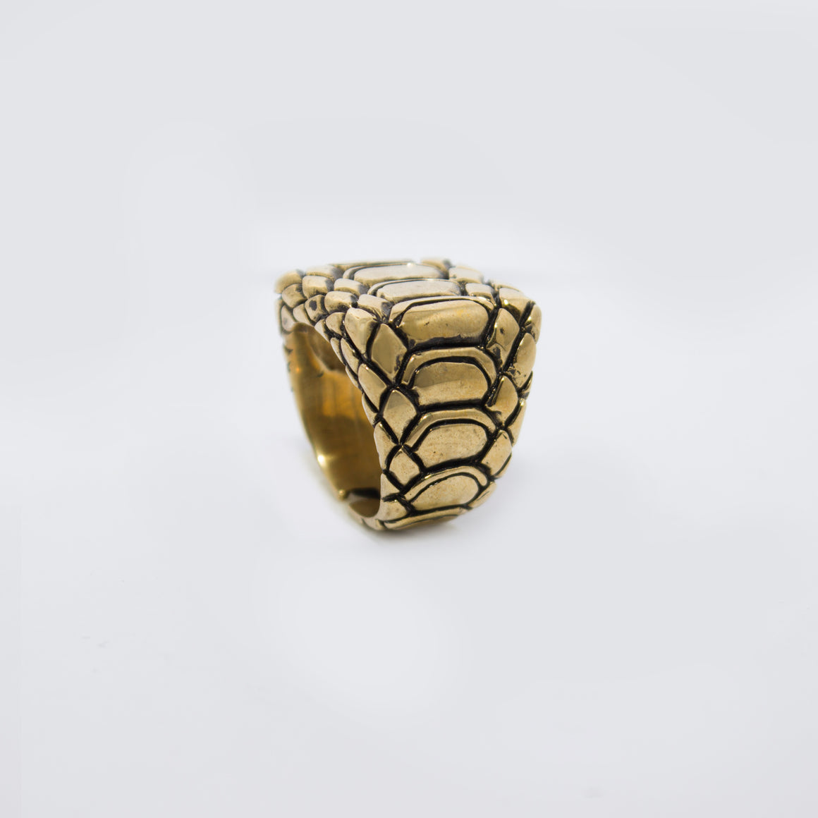 EXOTIC SKIN MOTIF RING IN YELLOW BRASS (RECTANGULAR)