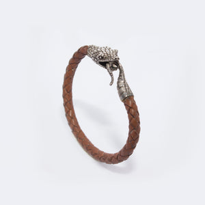 STERLING SILVER SNAKE HEAD BRACELET ON LIGHT BROWN LEATHER