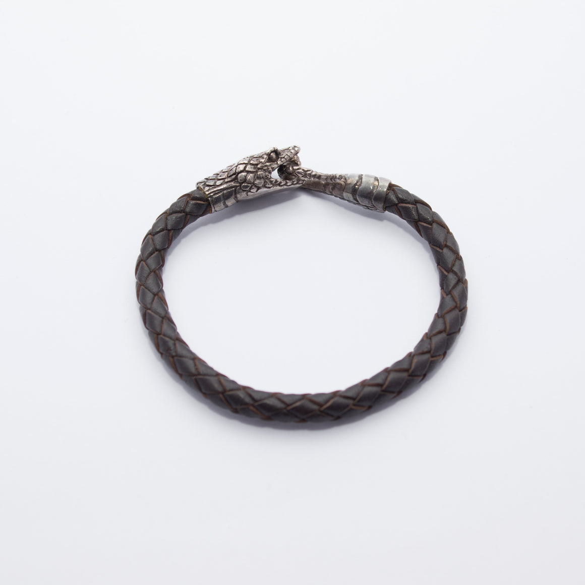 STERLING SILVER SNAKE HEAD BRACELET ON DARK BROWN LEATHER