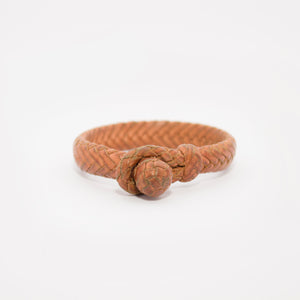 HANDWOVEN FLAT FISHBONE LEATHER BRACELET IN LIGHT BROWN