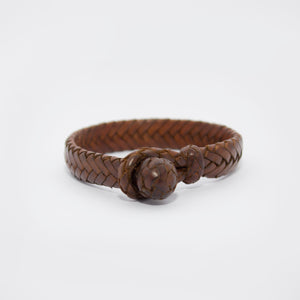 HANDWOVEN FLAT FISHBONE LEATHER BRACELET IN DARK BROWN