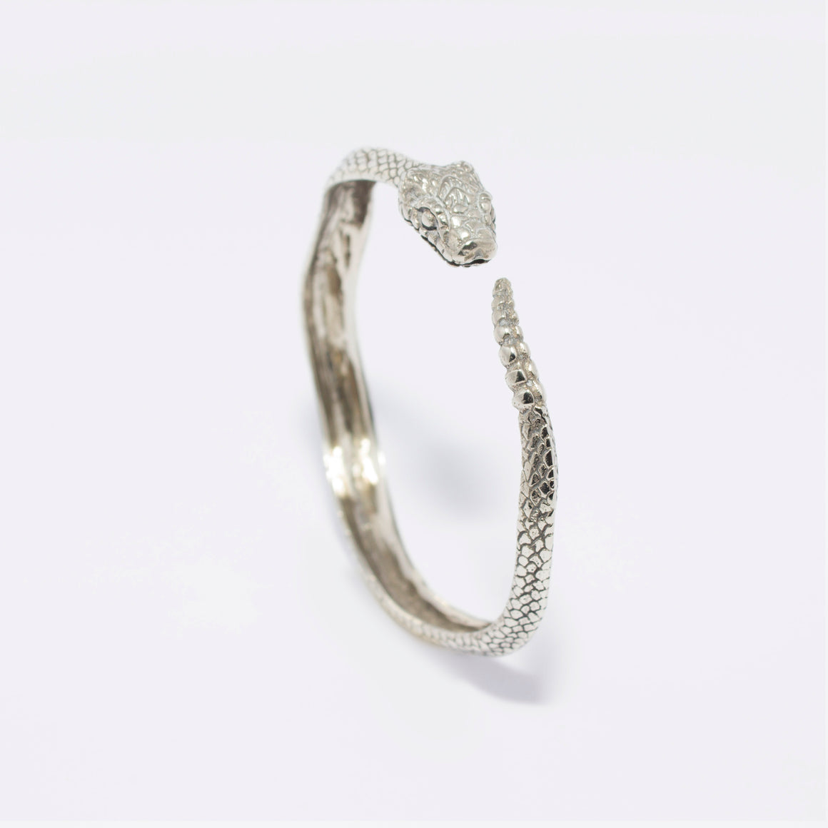 RATTLE SNAKE BANGLE (WHITE BRASS)