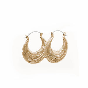 SMALL YELLOW BRASS ROUNDED FEATHER HOOP EARRINGS