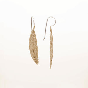 YELLOW BRASS FEATHER OVERLAY EARRINGS