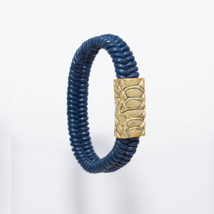 HANDWOVEN FISHBONE LEATHER BRACELET WITH SNAKE