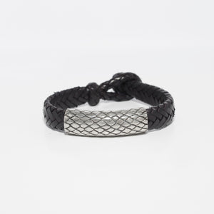 HANDWOVEN FISHBONE LEATHER BRACELET WITH REPTILE PATTERN CENTER PIECE