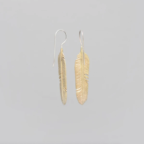 LARGE YELLOW BRASS FEATHER DROP EARRINGS