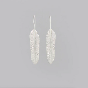LARGE SILVER PLATED FEATHER DROP EARRING