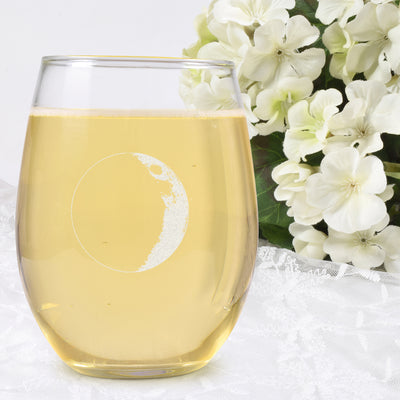 Waxing Crescent II Wine Glass