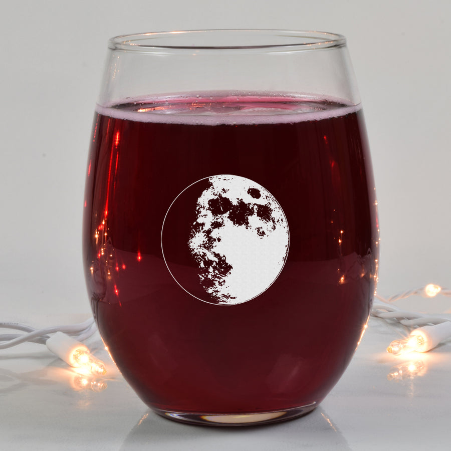 Waxing Gibbous II Wine Glass