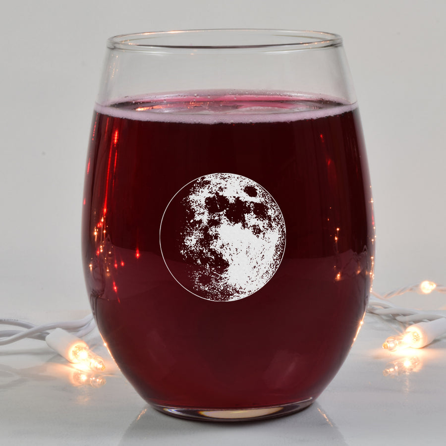 Waxing Gibbous III Wine Glass