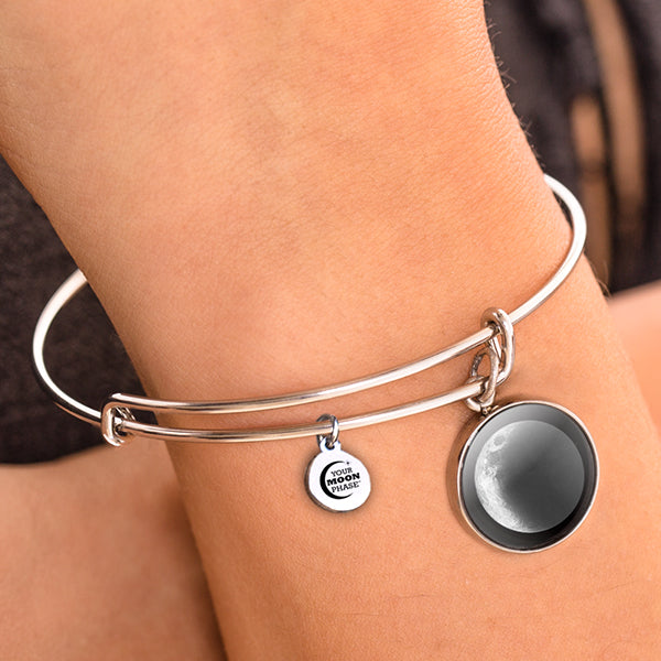 Waxing Crescent II Moon Bangle Bracelet