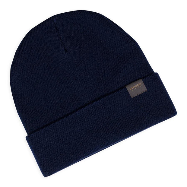 navy blue merino wool ribbed knit beanie laying flat