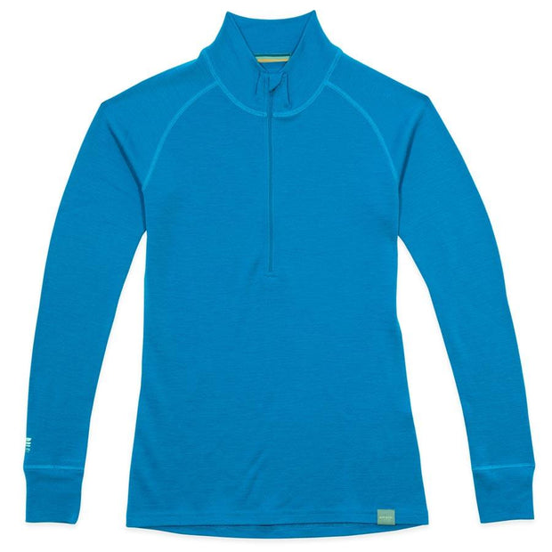 women's electric blue merino wool 250 base layer half zip sweater laying flat