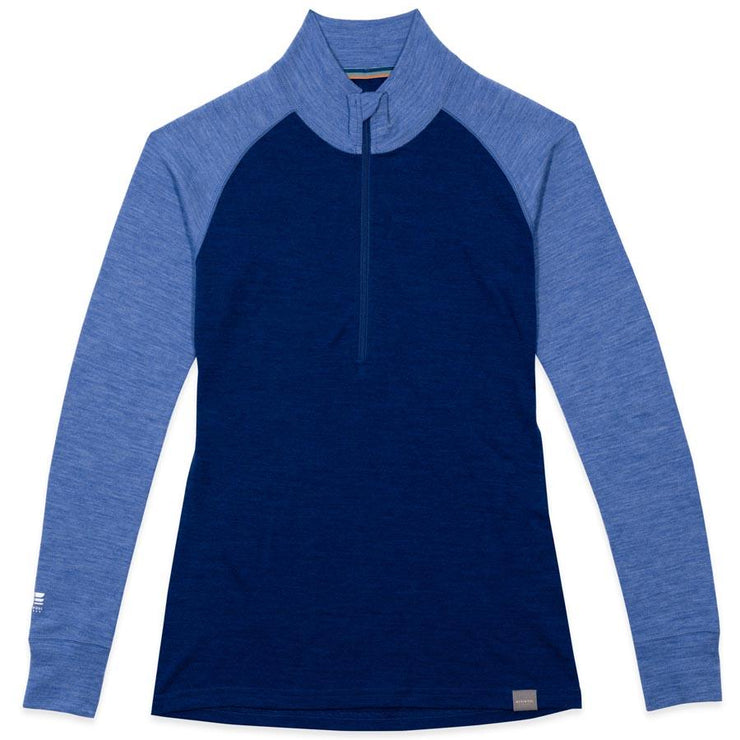 women's navy and sky blue heather merino wool 250 base layer half zip sweater laying flat