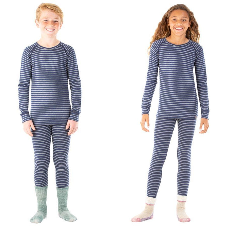 boy and a girl wearing sea stripe blue colored merino wool kids 250 base layer bottoms