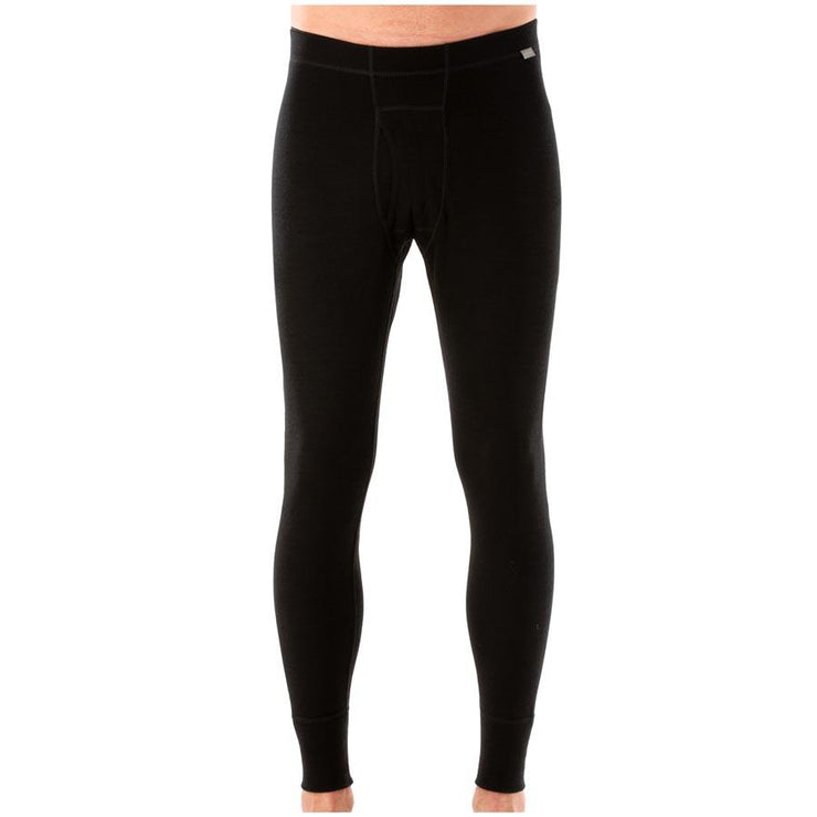 man wearing black merino wool 250 base layer pants