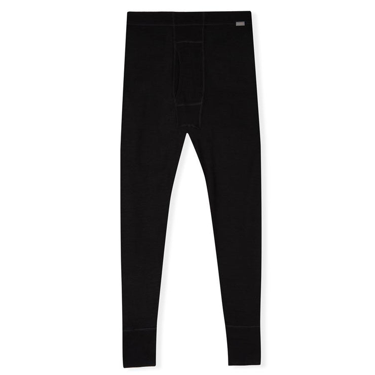 mens black merino wool 250 base layer thermal bottoms laying flat
