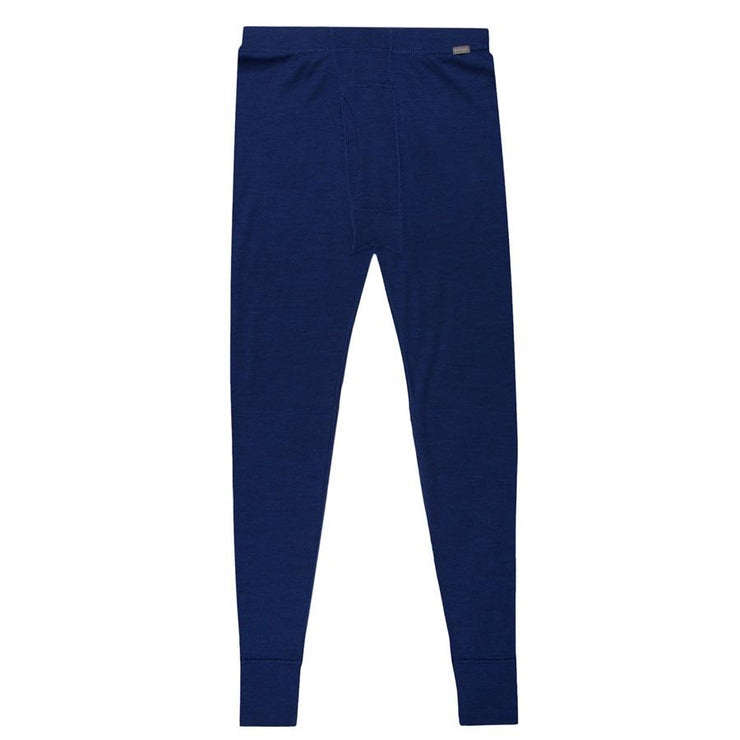 mens navy blue merino wool 250 base layer thermal bottoms laying flat